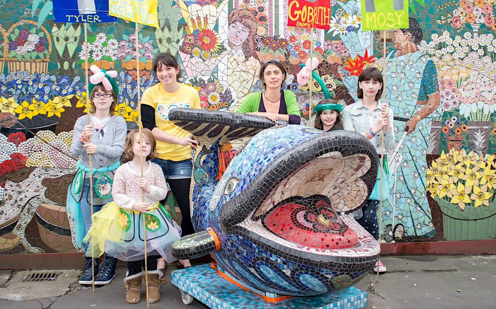 community mosaic whale and mosaic dresses